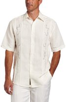 Cubavera Men's Big-Tall Short Sleeve Tuck Panel Ornate Embroidered Shirt