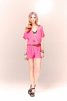 Twelfth St. By Cynthia Vincent by Cynthia Vincent Cross Front Romper in Pink