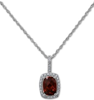"""Macy's Blue Topaz (3/4 ct. t.w.) & Diamond (1/10 ct. t.w.) 18"""" Pendant Necklace in 14k White Gold (Also Available in Garnet and Peridot)"""