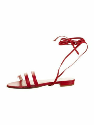 Ritch Erani NYFC Leather Ankle Strap Sandals Red Leather Ankle Strap Sandals