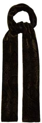 Etro Paisley Print Velvet Scarf - Womens - Black