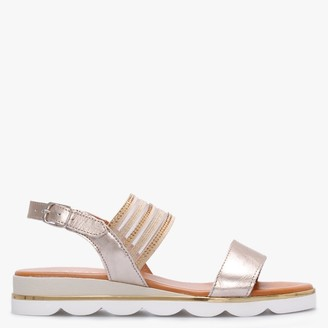 Daniel Lacey Gold Leather Embellished Two Strap Sandals