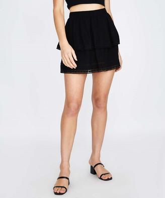 Subtitled Self Stripe Layered Skirt Black