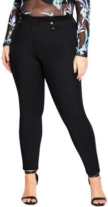 City Chic Sleek High Waist Button Detail Pants