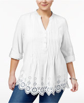 Style&Co. Style & Co Plus Size Cotton Eyelet-Hem Top, Created for Macy's