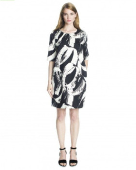 Marimekko Noppeesti Hulahula Swirl Print Straight Cut Dress - 38 - White/Black