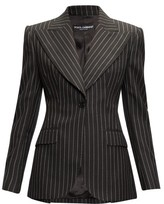 Dolce & Gabbana Pinstripe Peak-lapel Wool-blend Blazer - Womens - Grey Multi