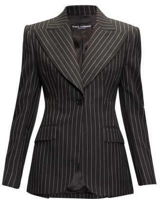 Dolce & Gabbana Pinstripe Peak-lapel Wool-blend Blazer - Grey Multi