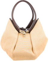 Jimmy Choo Raffia and Leather Shoulder Bag