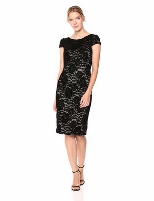 Adrianna Papell Women's Short Sleeve Flocked Velvet Lace Dress
