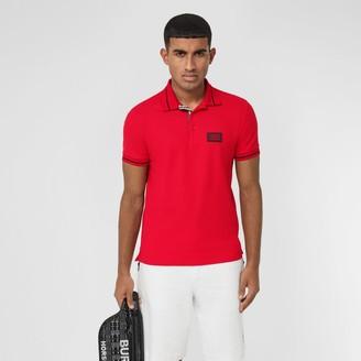 Burberry Logo Applique Cotton Pique Polo Shirt