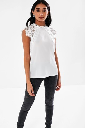 iClothing Nelly Lace Sleeves Blouse in White