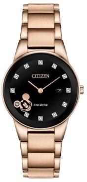 Citizen Disney by Eco-Drive Women's Mickey Mouse Diamond-Accent Rose Gold-Tone Bracelet Watch 29.5mm