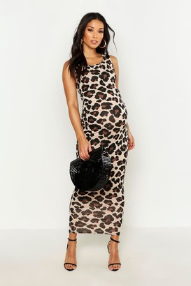 boohoo Maternity Leopard Print Basic Maxi Dress