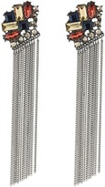 GUESS Clustered Stone Top with Chain Fringe Earrings