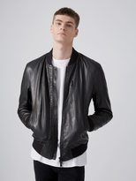 Frank + Oak Leather Bomber Jacket in Black