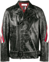 Facetasm distressed biker jacket - men - Leather/Cupro/Wool - 3