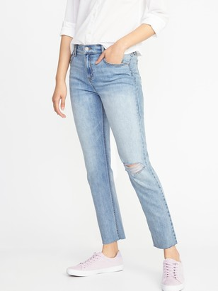 Old Navy Mid-Rise Distressed Straight Ankle Jeans for Women