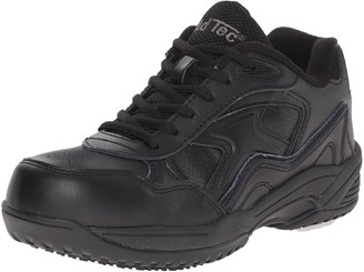 AdTec Women's Black Lace Work Shoe - Composite Safety Toe Slip Resistant Breathable + Comfortable 8 M US