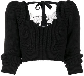 Self-Portrait Knitted Crop Top With Lace Insert