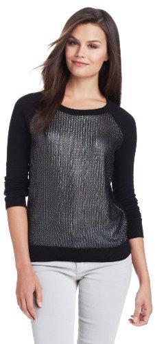 BCBGeneration Women's Herringbone Foil Front Crew Neck Sweater