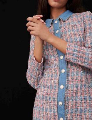 Maje Tweed dress with denim contrasts
