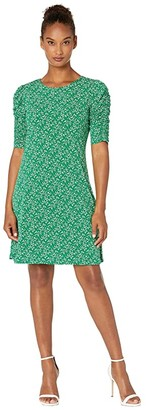 CeCe Ruched Sleeve Lace Floral Dress (Lush Green) Women's Dress
