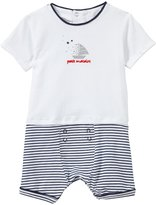 "Petit Lem Petit Matelot "" Romper (Baby) - White/Navy-6 Months"