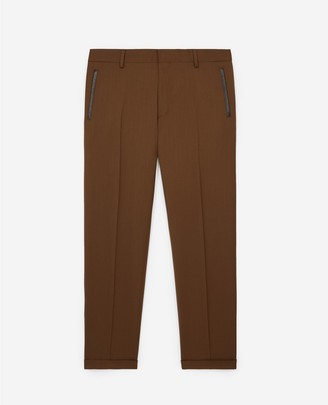 The Kooples Slim-fit camel beige suit trousers in wool
