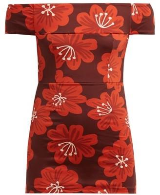 Dodo Bar Or Lippa Off-the-shoulder Floral-print Swimsuit - Burgundy Print
