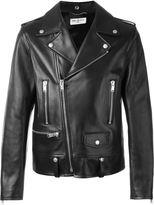 Saint Laurent classic biker jacket - men - Cotton/Lamb Skin/Cupro - 44