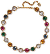 Gucci Burnished Gold-tone Crystal Necklace - one size