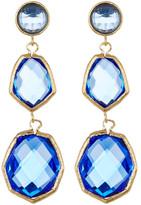 Rivka Friedman 18K Gold Clad Triple Dangle Deco Design Faceted Poppy Blue Crystal Earrings