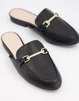 Qupid flat trim loafer mules in black