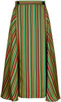 Marco De Vincenzo Multi Stripe Silk Midi Skirt