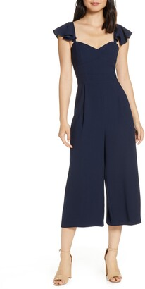 Eliza J Ruffle Sleeve Crop Jumpsuit