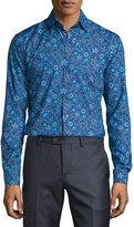 Eton Floral-Print Sport Shirt, Blue