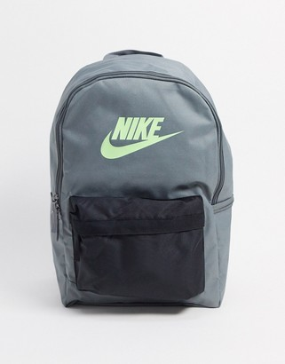 Nike Heritage 2.0 logo backpack in gray