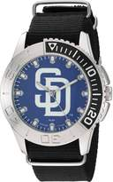 Game Time Men's 'Starter' Quartz Metal and Nylon Automatic Watch, Color:Black (Model: MLB-STA-SD)