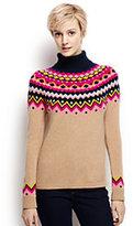 Classic Women's Merino Blend Fair Isle Turtleneck Sweater-Alpaca Heather