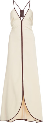 Victoria Beckham Leather-Trimmed Crepe Maxi Dress
