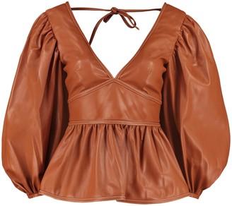 STAUD Luna Faux Leather Top
