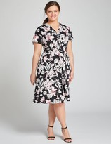 Lane Bryant Floral Crossover Fit & Flare Dress