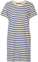 The Great The Boxy Striped Cotton-jersey Mini Dress - Blue