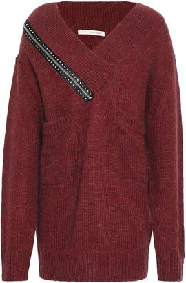 Christopher Kane Embellished Ribbed-knit Sweater