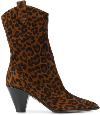 Aquazzura Animal Print Western-Inspired Boots