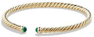 David Yurman Cable Spira Bracelet with Emeralds in 18K Yellow Gold/4mm