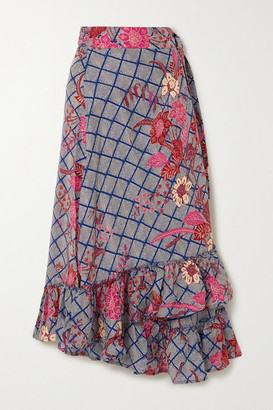 Apiece Apart Feliz Ruffled Floral-print Silk-satin Wrap Midi Skirt - Blue