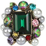 Betsey Johnson Pearl and Faceted Stone Ring