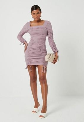 Missguided Cotton Poplin Ruched Mini Dress